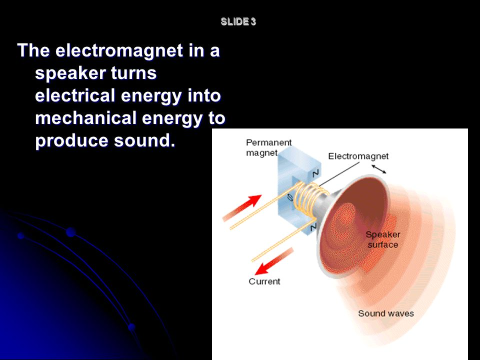 SLIDE 3 The electromagnet in a speaker turns electrical energy into mechanical energy to produce sound.