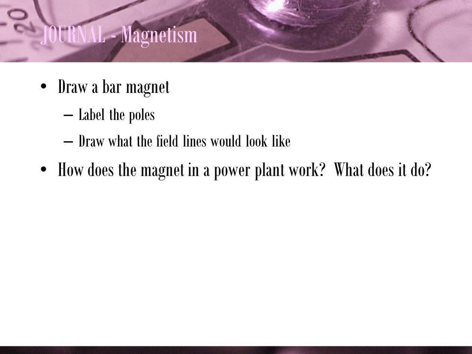 JOURNAL - Magnetism Draw a bar magnet