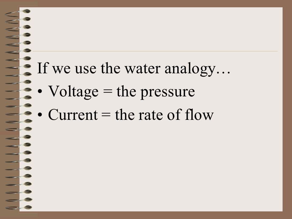 If we use the water analogy…
