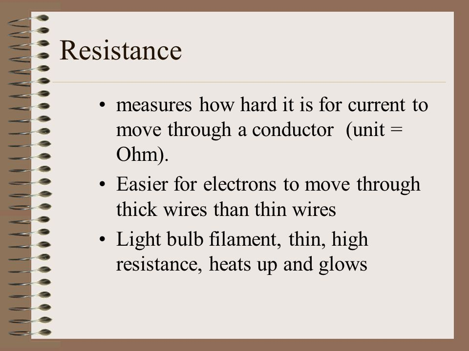 Resistance measures how hard it is for current to move through a conductor (unit = Ohm).