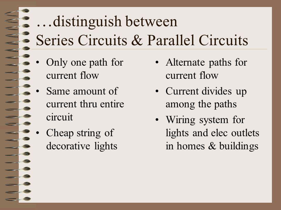 …distinguish between Series Circuits & Parallel Circuits