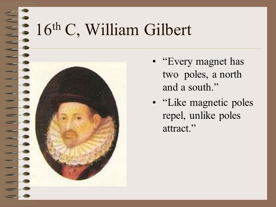 16th C, William Gilbert Every magnet has two poles, a north and a south. Like magnetic poles repel, unlike poles attract.