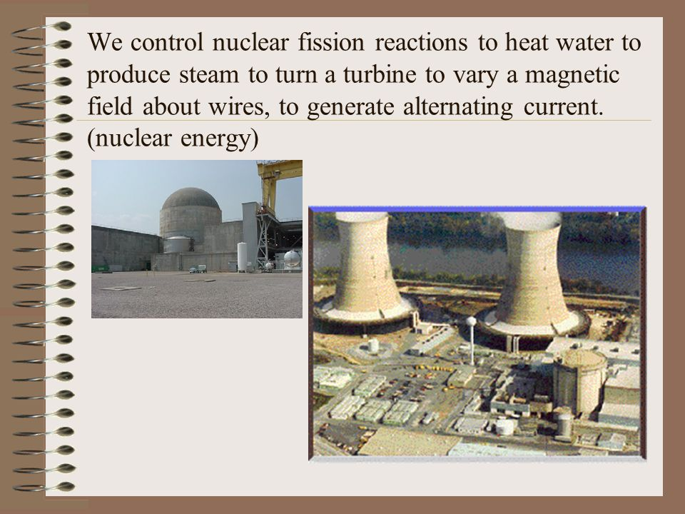 We control nuclear fission reactions to heat water to produce steam to turn a turbine to vary a magnetic field about wires, to generate alternating current.