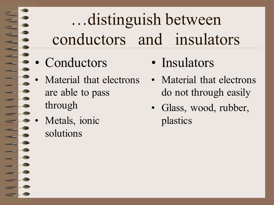…distinguish between conductors and insulators