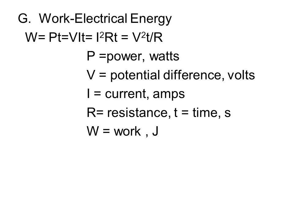G. Work-Electrical Energy