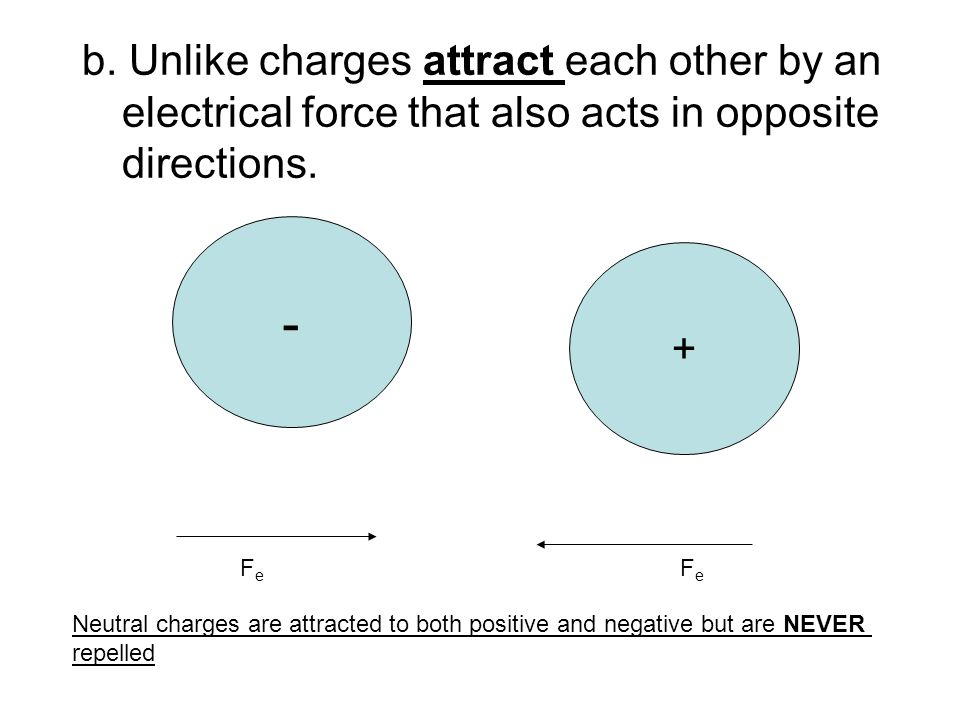 b. Unlike charges attract each other by an electrical force that also acts in opposite directions.