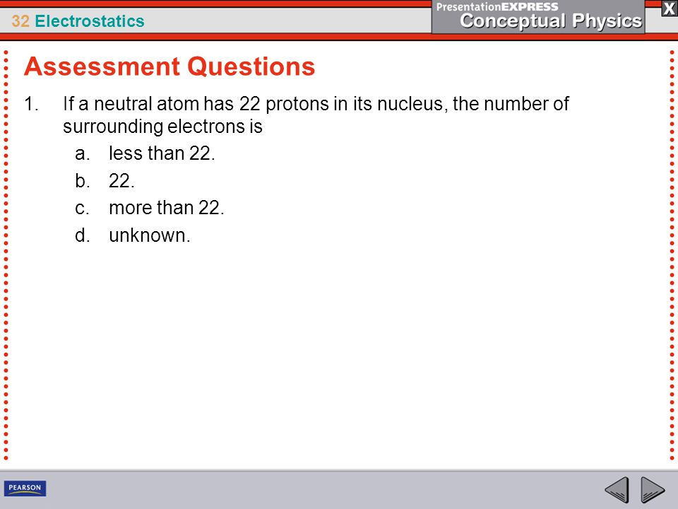 Assessment Questions If a neutral atom has 22 protons in its nucleus, the number of surrounding electrons is.