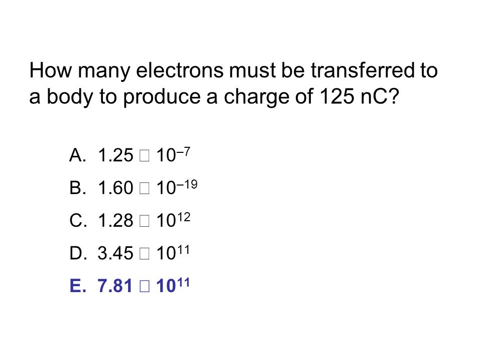 How many electrons must be transferred to a body to produce a charge of 125 nC