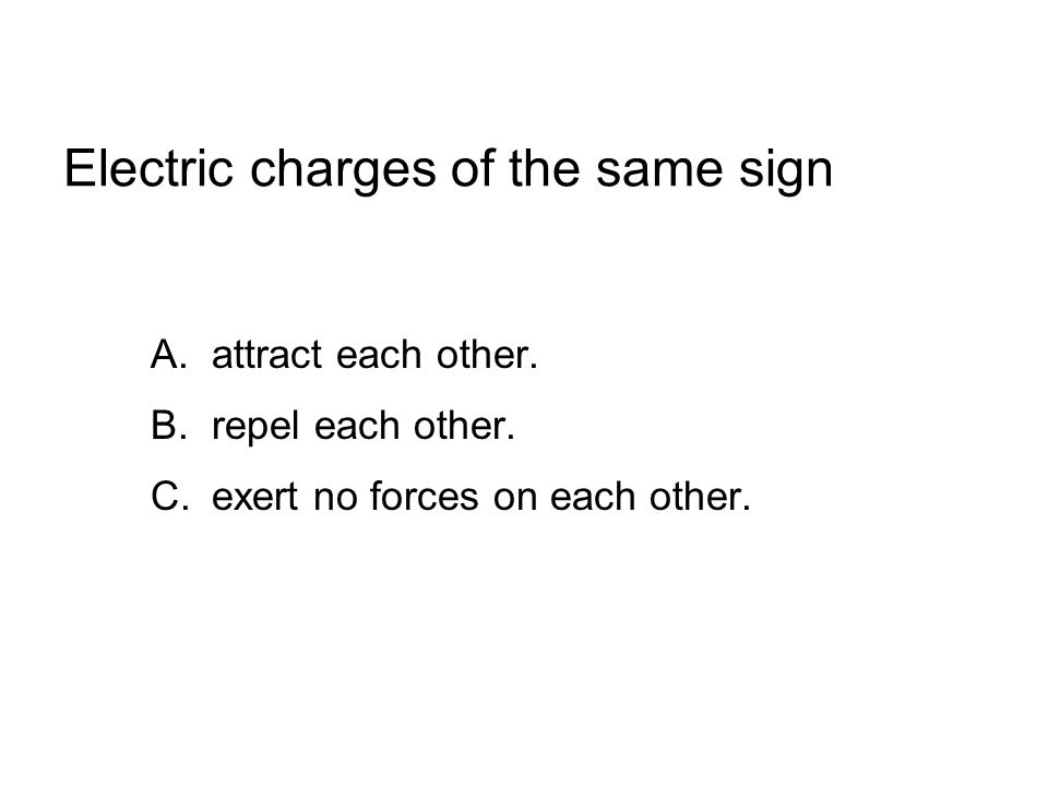 Electric charges of the same sign