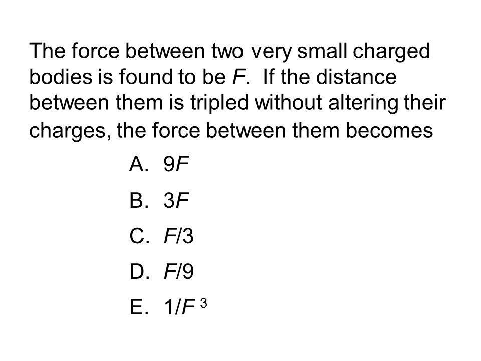 The force between two very small charged bodies is found to be F