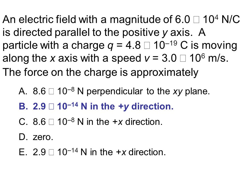 An electric field with a magnitude of 6