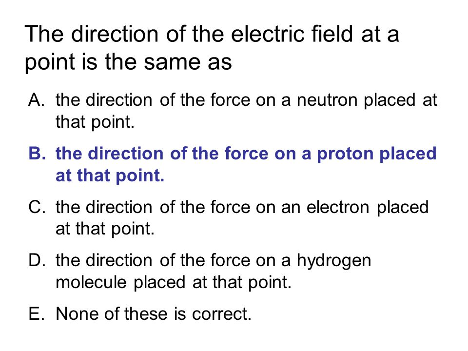 The direction of the electric field at a point is the same as