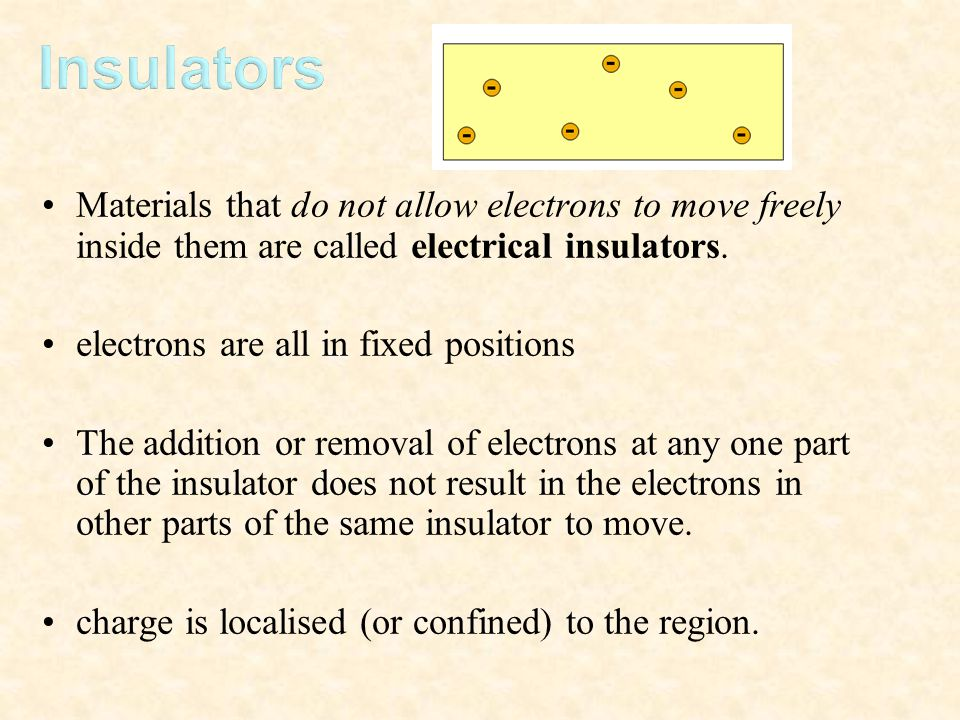 Insulators Materials that do not allow electrons to move freely inside them are called electrical insulators.