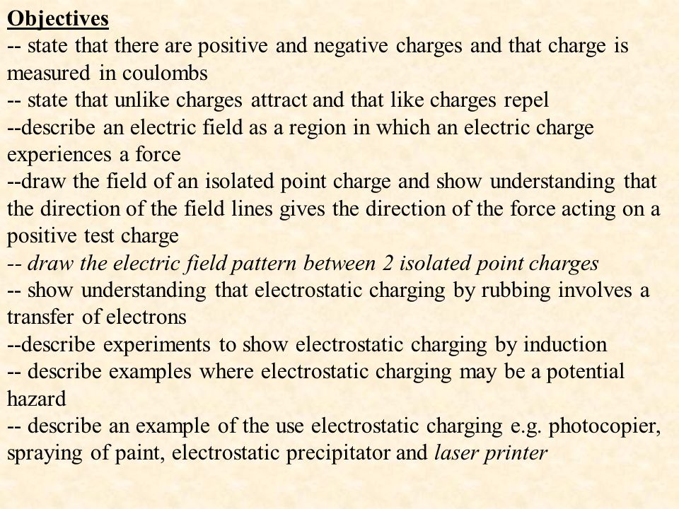 Objectives -- state that there are positive and negative charges and that charge is measured in coulombs.