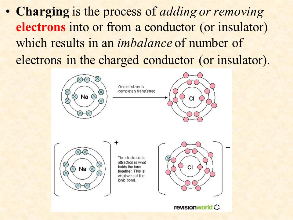 Charging is the process of adding or removing electrons into or from a conductor (or insulator) which results in an imbalance of number of electrons in the charged conductor (or insulator).