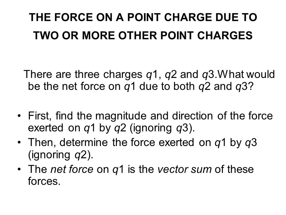 THE FORCE ON A POINT CHARGE DUE TO TWO OR MORE OTHER POINT CHARGES