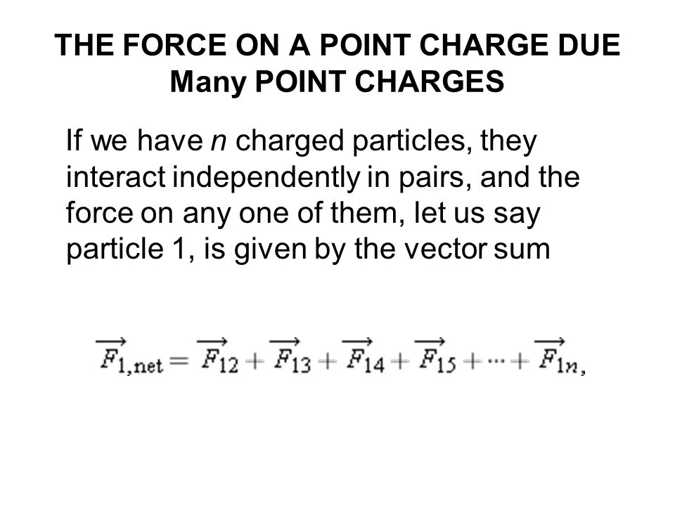 THE FORCE ON A POINT CHARGE DUE Many POINT CHARGES