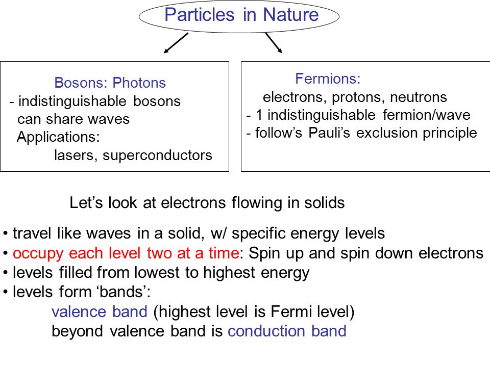 Particles in Nature Fermions: Bosons: Photons