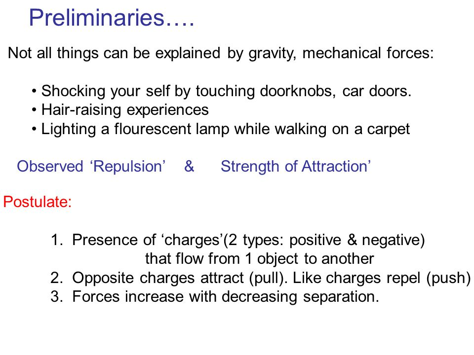 Preliminaries…. Not all things can be explained by gravity, mechanical forces: Shocking your self by touching doorknobs, car doors.