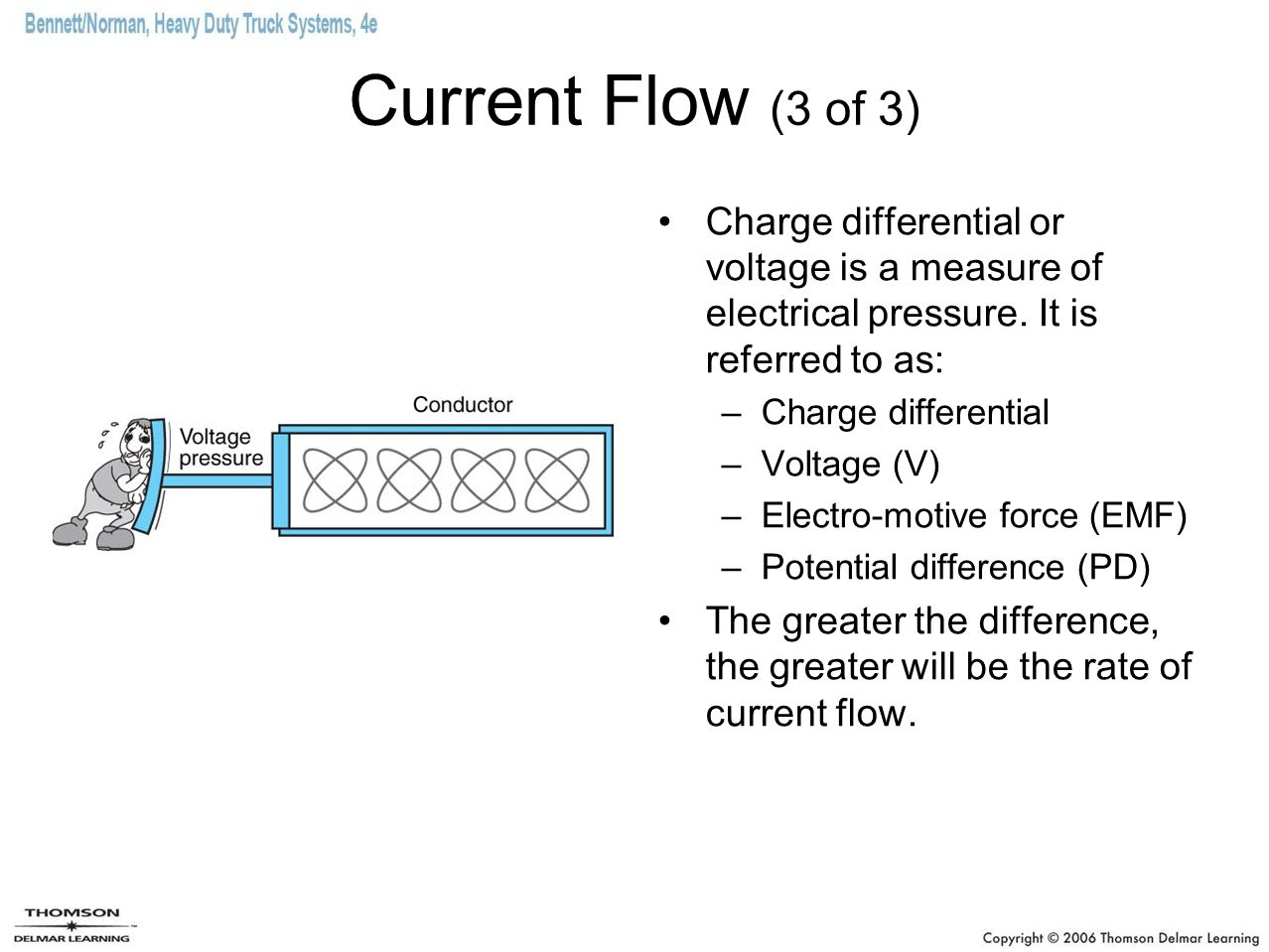 Current Flow (3 of 3) Charge differential or voltage is a measure of electrical pressure. It is referred to as: