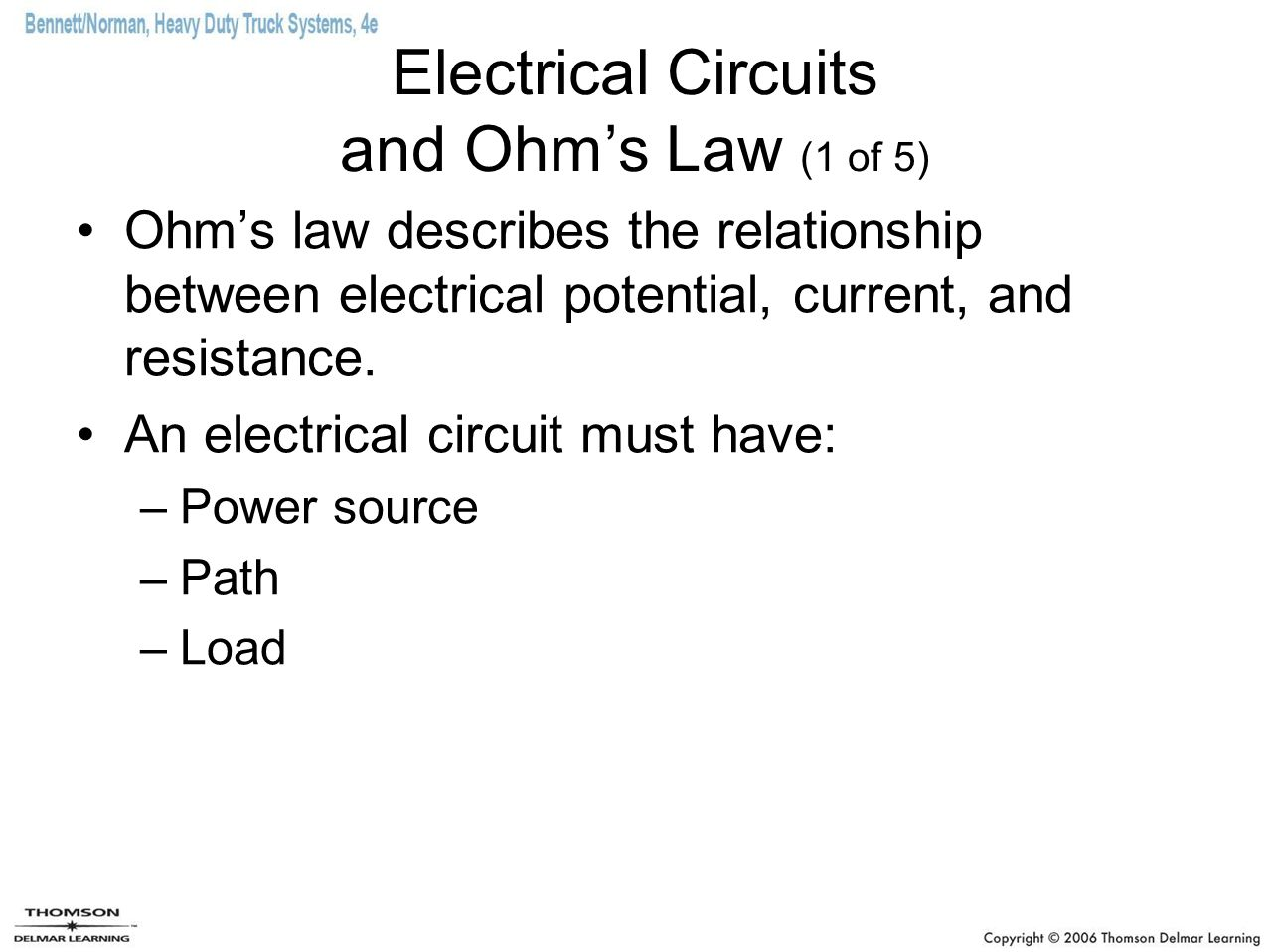 Electrical Circuits and Ohm's Law (1 of 5)