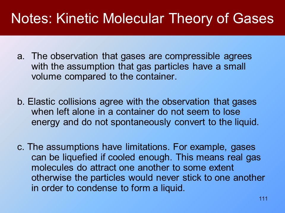Notes: Kinetic Molecular Theory of Gases