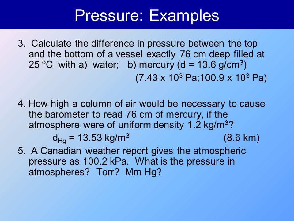 Pressure: Examples