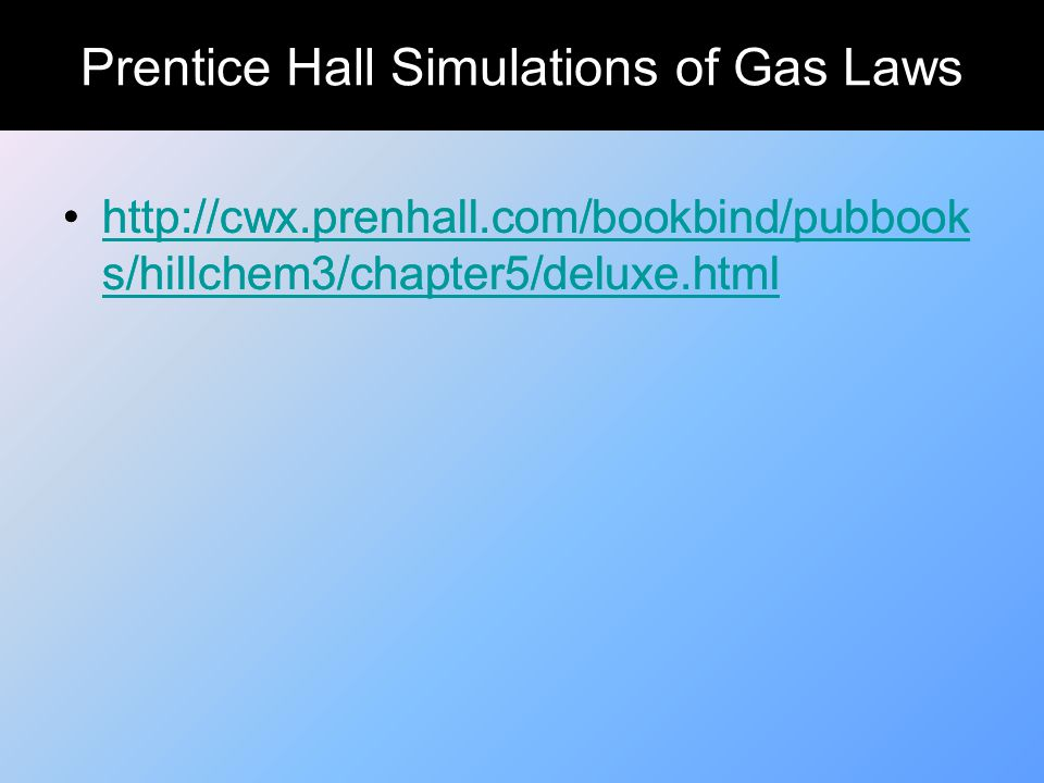 Prentice Hall Simulations of Gas Laws