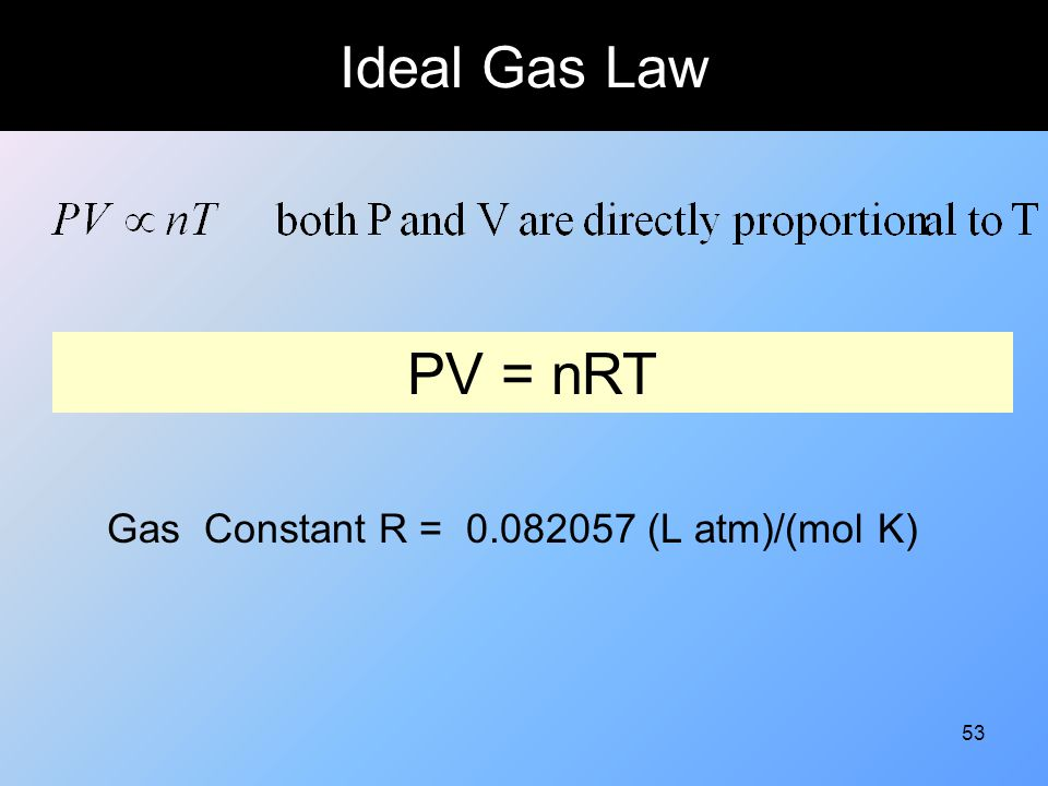 Ideal Gas Law PV = nRT Gas Constant R = 0.082057 (L atm)/(mol K)