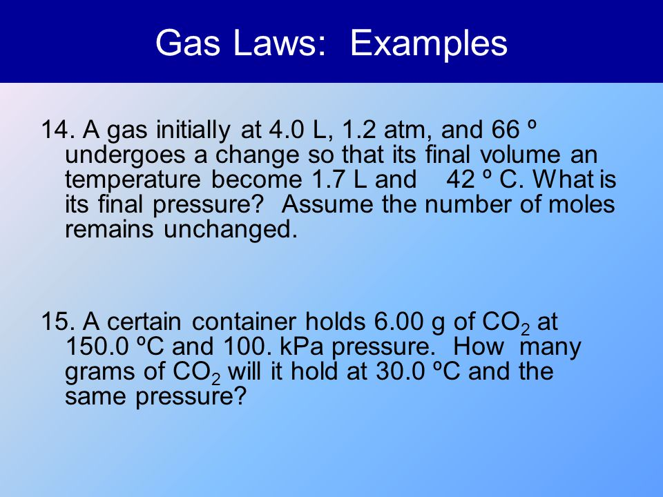Gas Laws: Examples