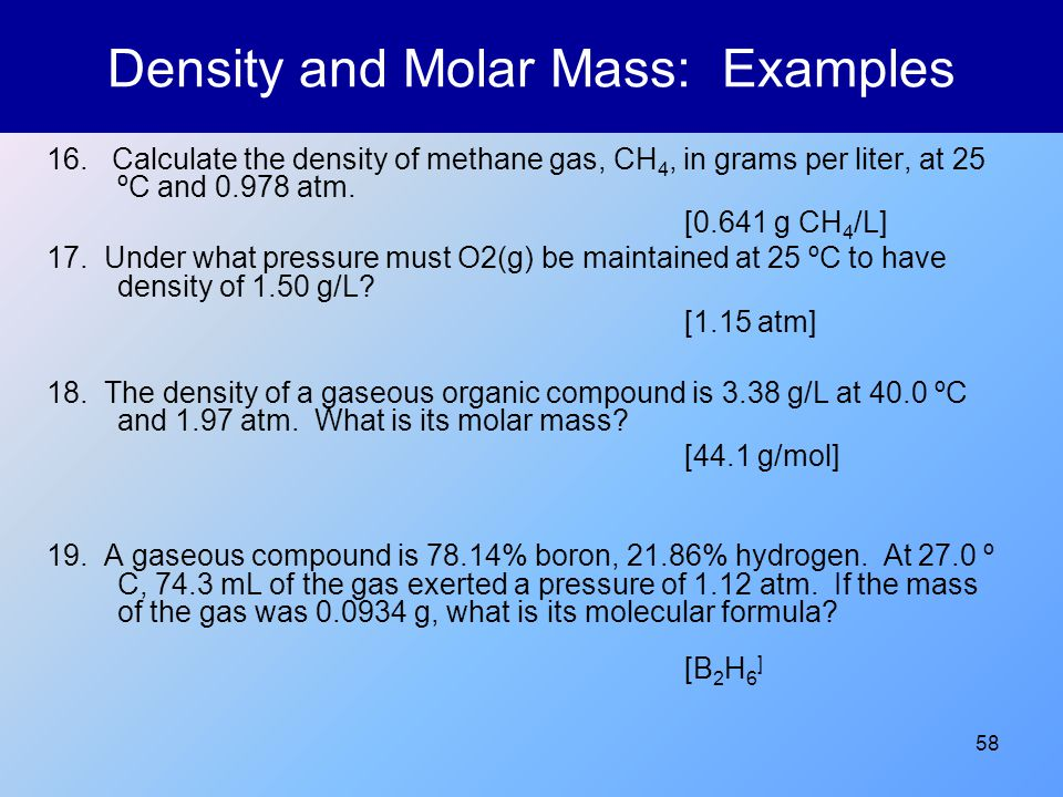 Density and Molar Mass: Examples