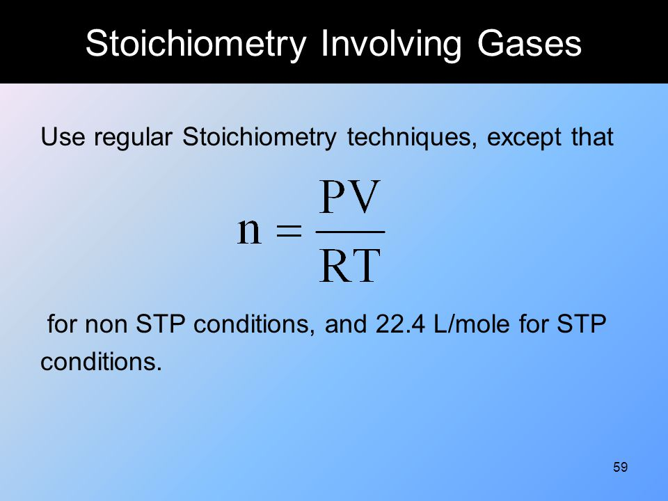 Stoichiometry Involving Gases