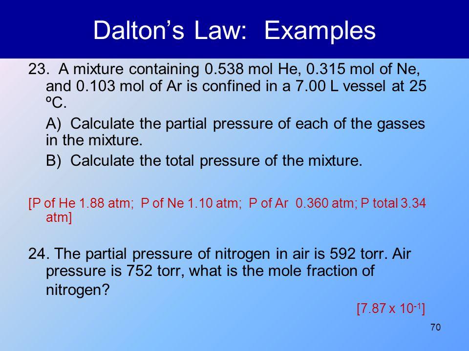 Dalton's Law: Examples