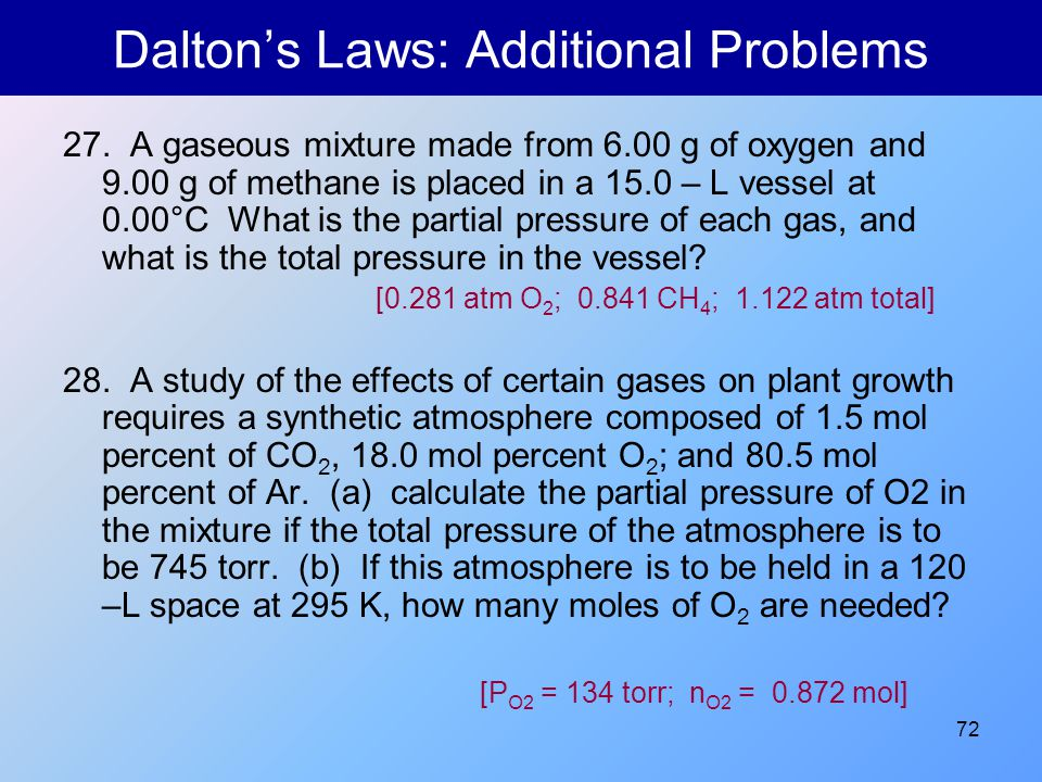 Dalton's Laws: Additional Problems