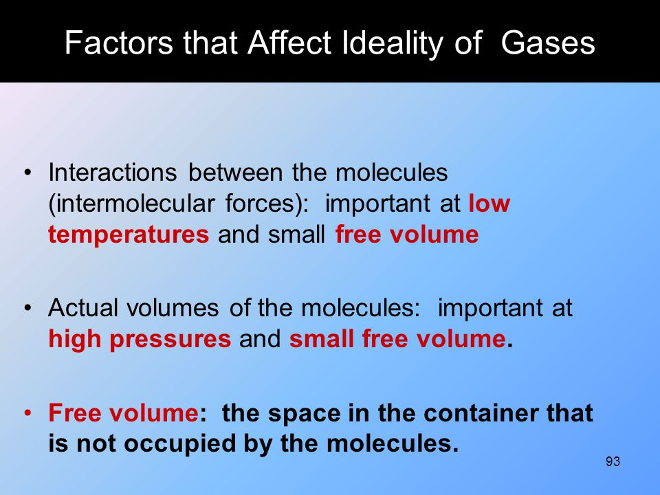Factors that Affect Ideality of Gases