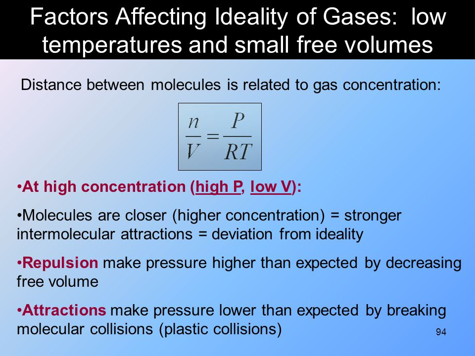Factors Affecting Ideality of Gases: low temperatures and small free volumes