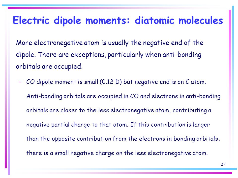 Electric dipole moments: diatomic molecules