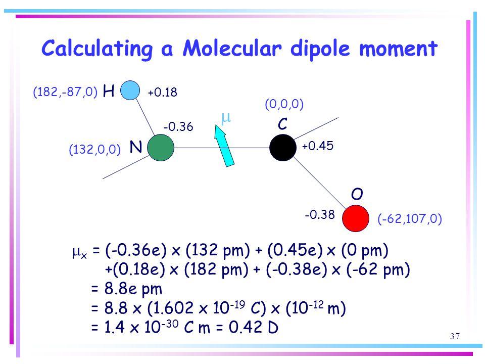 Calculating a Molecular dipole moment