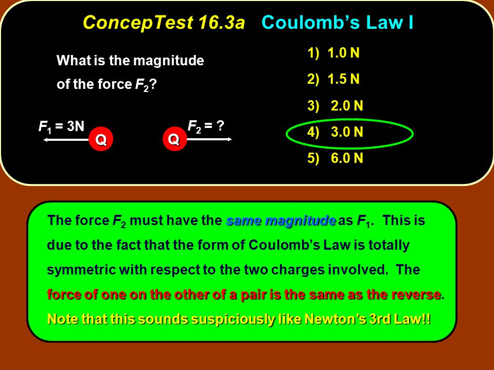 ConcepTest 16.3a Coulomb's Law I