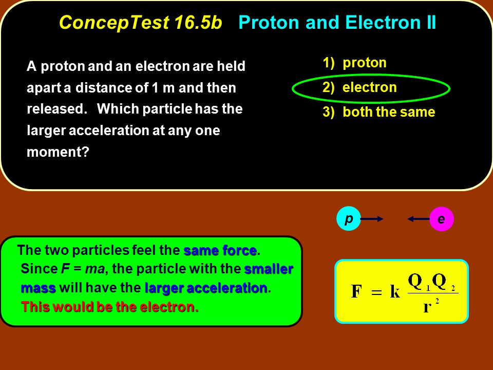 ConcepTest 16.5b Proton and Electron II