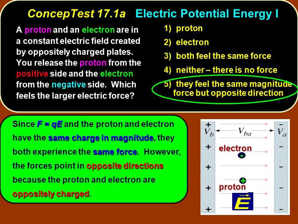 ConcepTest 17.1a Electric Potential Energy I