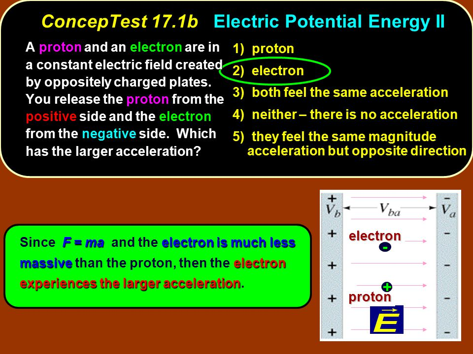 ConcepTest 17.1b Electric Potential Energy II