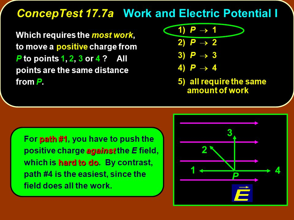 ConcepTest 17.7a Work and Electric Potential I