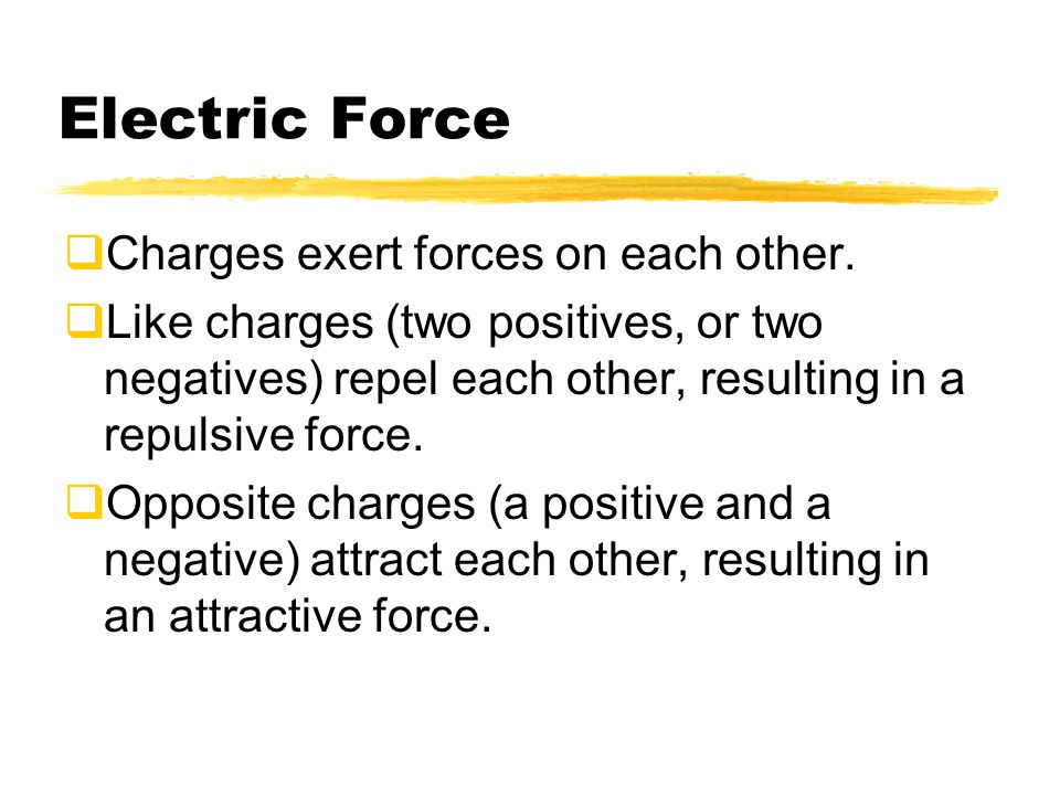 Electric Force Charges exert forces on each other.