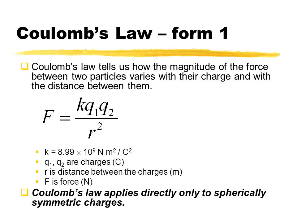 Coulomb's Law – form 1