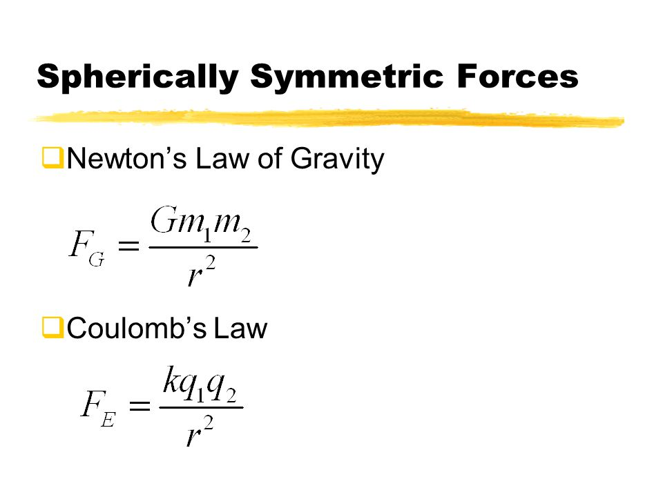 Spherically Symmetric Forces