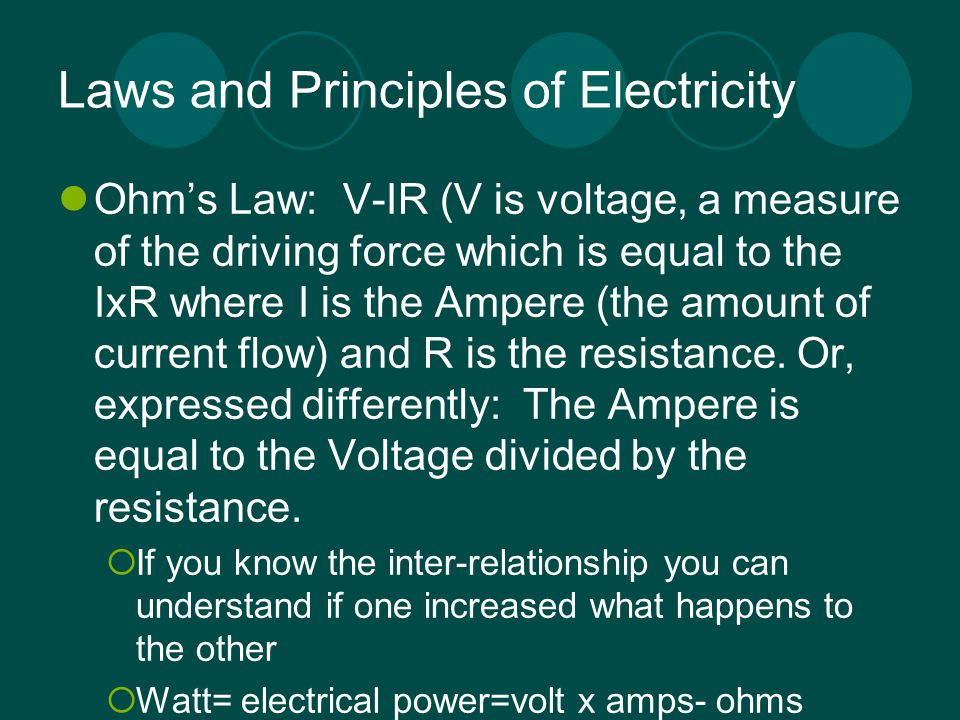 Laws and Principles of Electricity