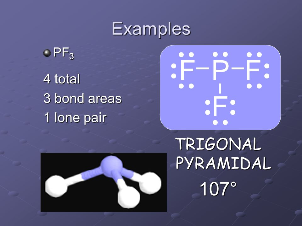 F P F F 107° Examples TRIGONAL PYRAMIDAL 4 total 3 bond areas
