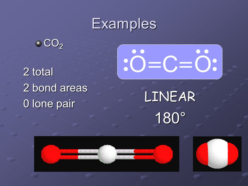 Examples O C O CO2 2 total 2 bond areas 0 lone pair LINEAR 180°