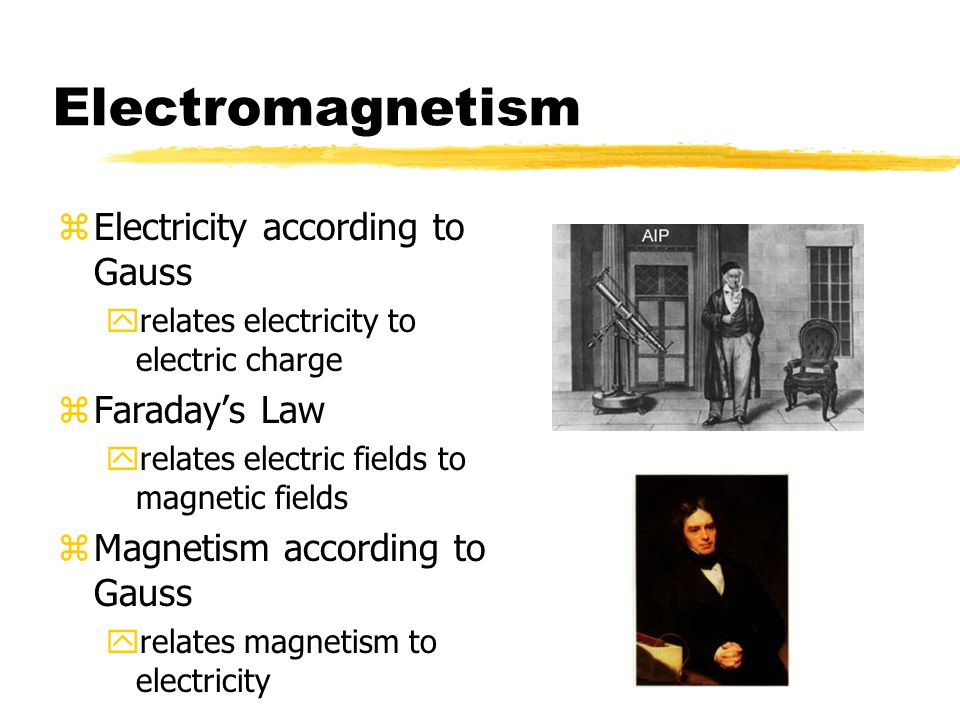 Electromagnetism Electricity according to Gauss Faraday's Law